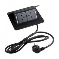 LEGRAND Pop-up v2, 2 x elektrická zásuvka 230 V čierna mat