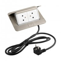 LEGRAND Pop-up v2, 2 x elektrická zásuvka 230 V, nerez