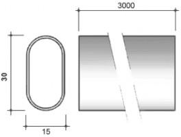 STRONG Tyč šatníkova oválna 30/15/3000mm chróm